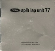 Instruction Booklet for Ford Split Lap Unit 77