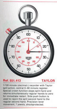 "Heuer Stopwatch, with the ""Taylor"" Split Second System"