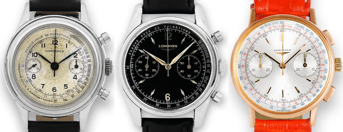 Three Longines Flyback Chronographs