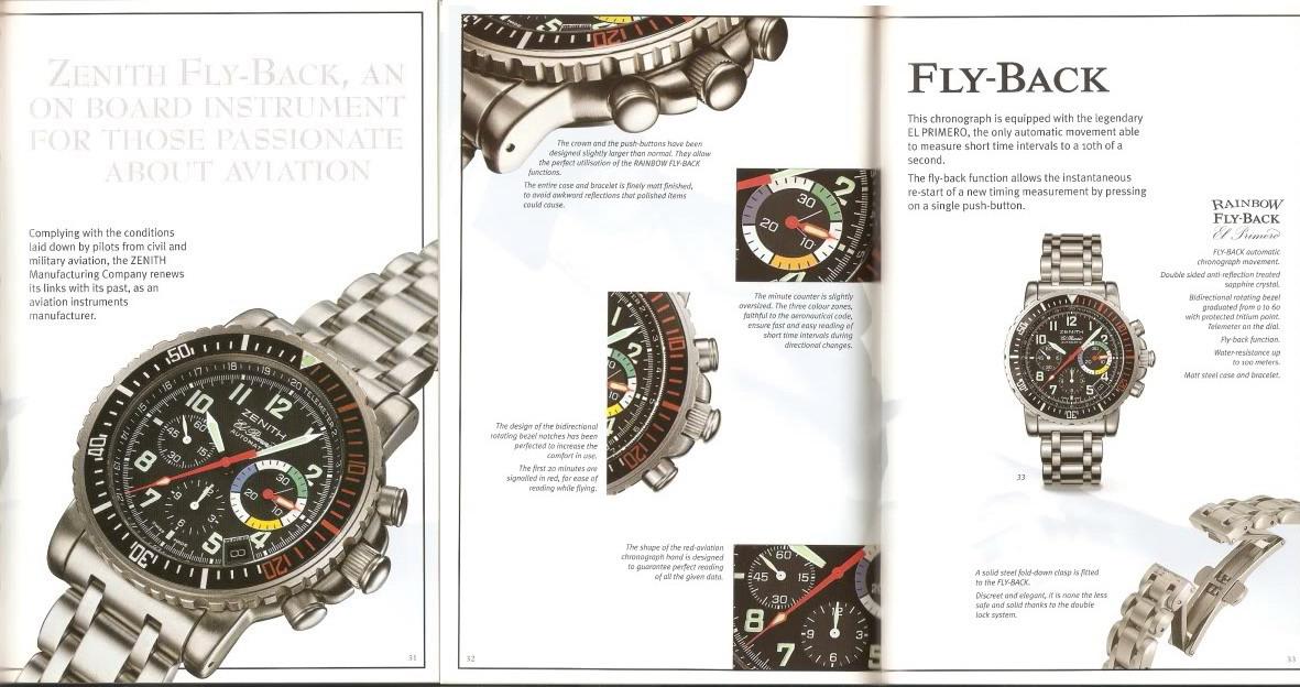 Brochure for Zenith El Primero Rainbow Flyback Chronograph
