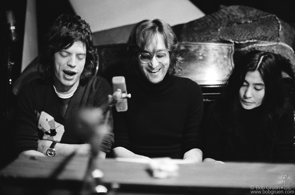 Mick Jagger, John Lennon and Yoko Ono, New York City, 1972