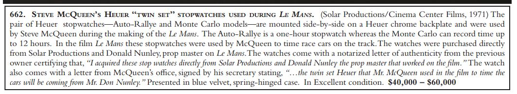 Auction Catalog Description of Heuer Dashboard Timers