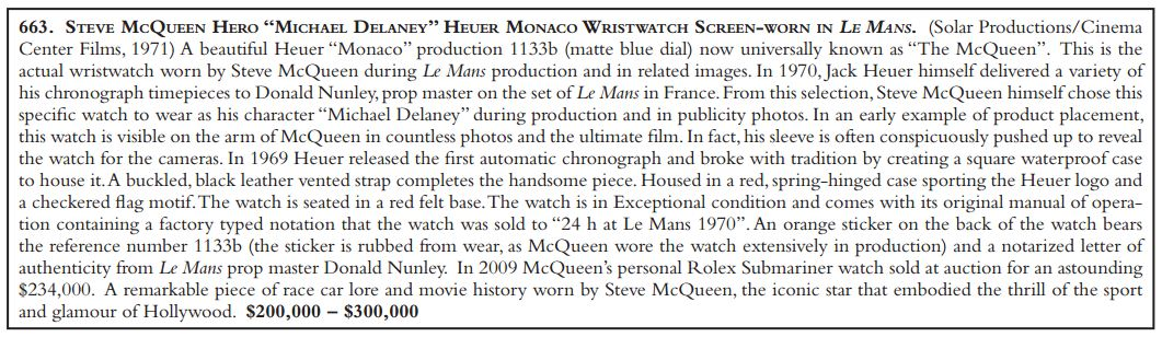 "Auction Catalog Description of the ""Beauty Watch"" Monaco"