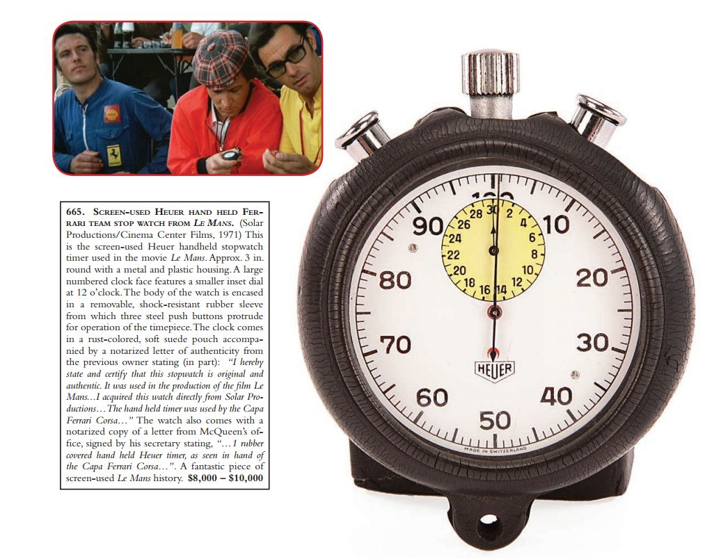 Heuer Stopwatch Used as a Prop in Filming of Le Mans
