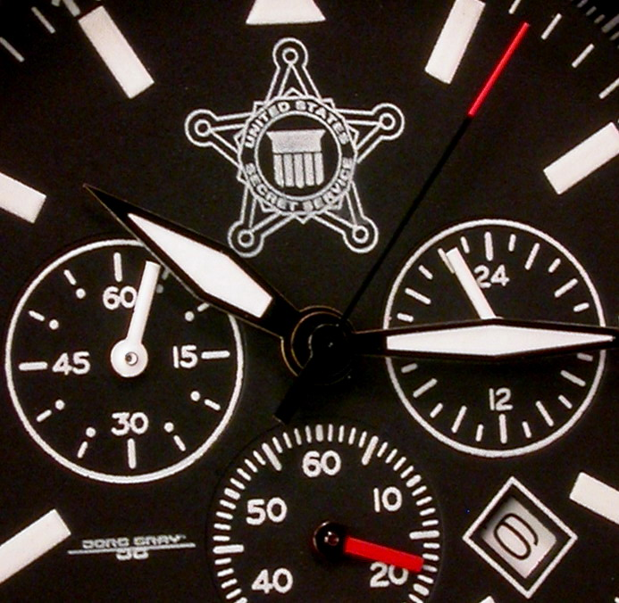 Jorg Gray JG6500 Chronograph, Detail of Secret Service Logo