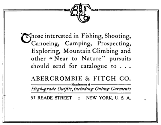 Abercrombie & Fitch Advertisement, 1907