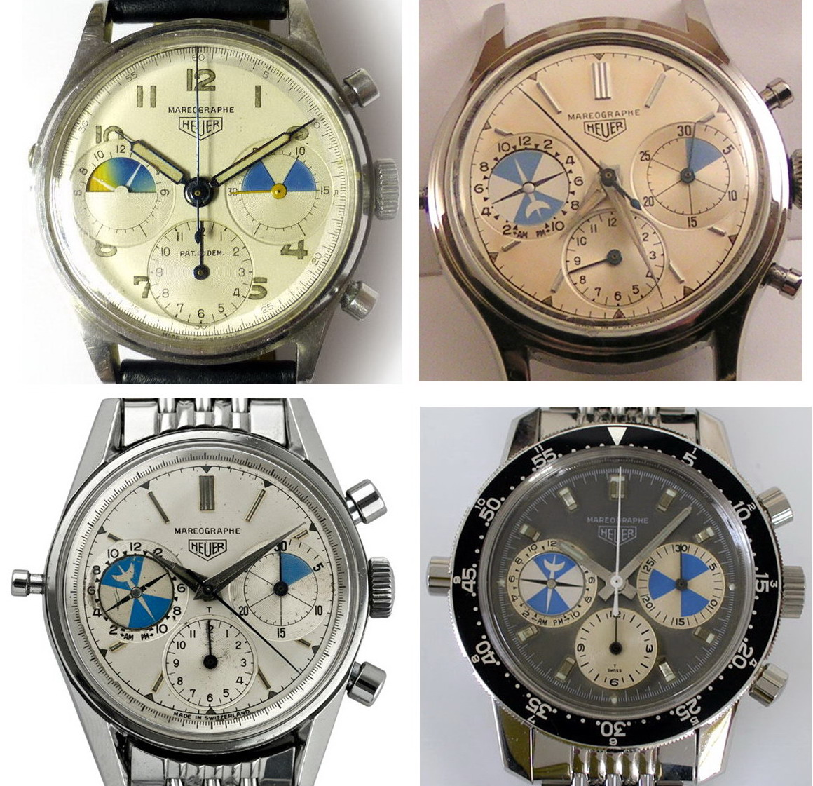 Four versions of the Heuer Mareographe