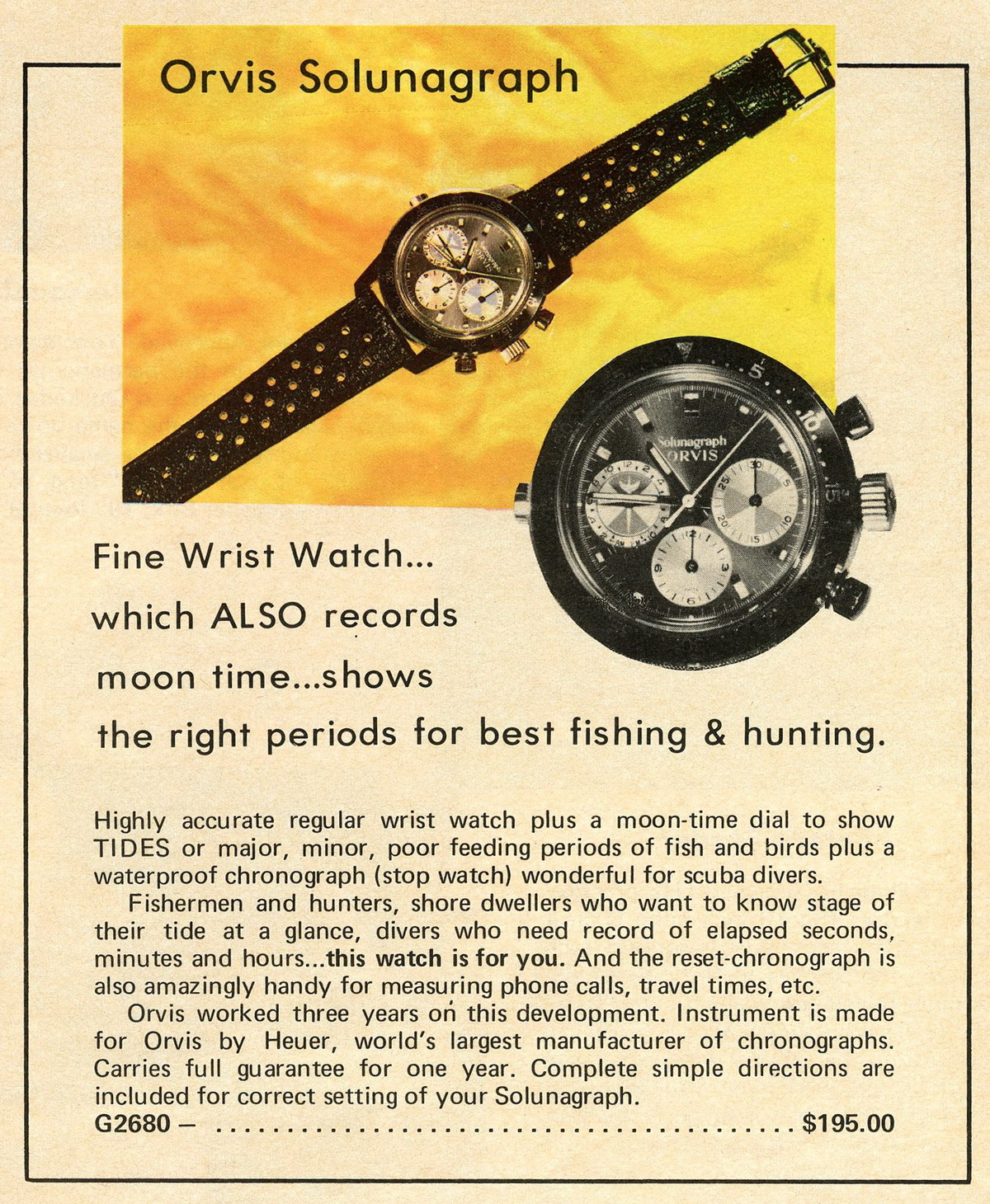 Orvis Solunagraph shown in 1973 Christmas catalog