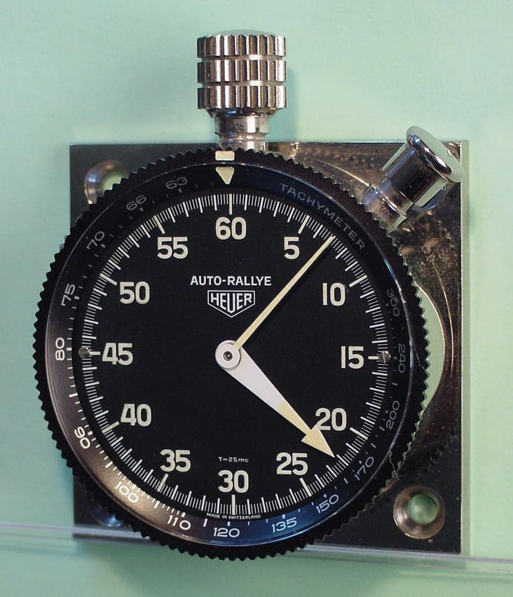 Heuer Auto-Rallye Dashboard Timer, with Rotating Tachymeter Scale on Dial