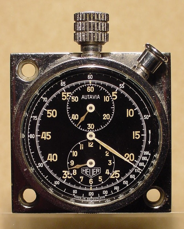 Heuer Autavia Dashboard Timer, with Tachymeter Scale on Dial