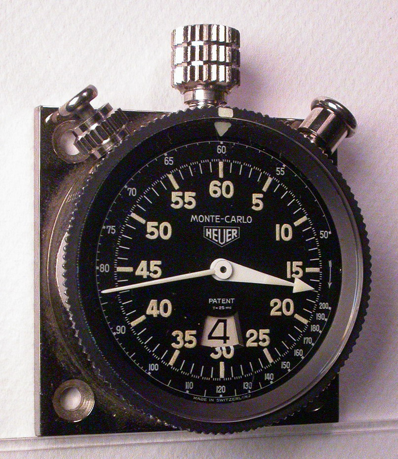 Heuer Monte Carlo Dashboard Timer, with Tachymeter Scale on Dial