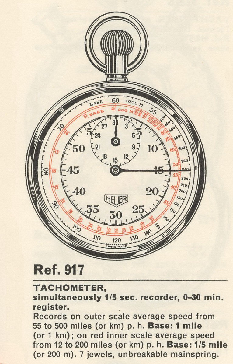 Heuer Stopwatch with Tachymeter Tracks (Reference 917)